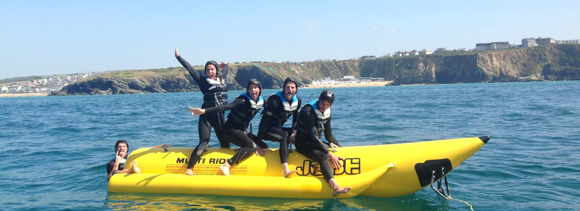 Banana Boat Rides Newquay Cornwall family fun activity