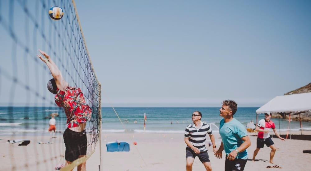 Beach Volleyball Stag & Hen Activities in Newquay, Cornwall. Carlyon Bay in St Austell.