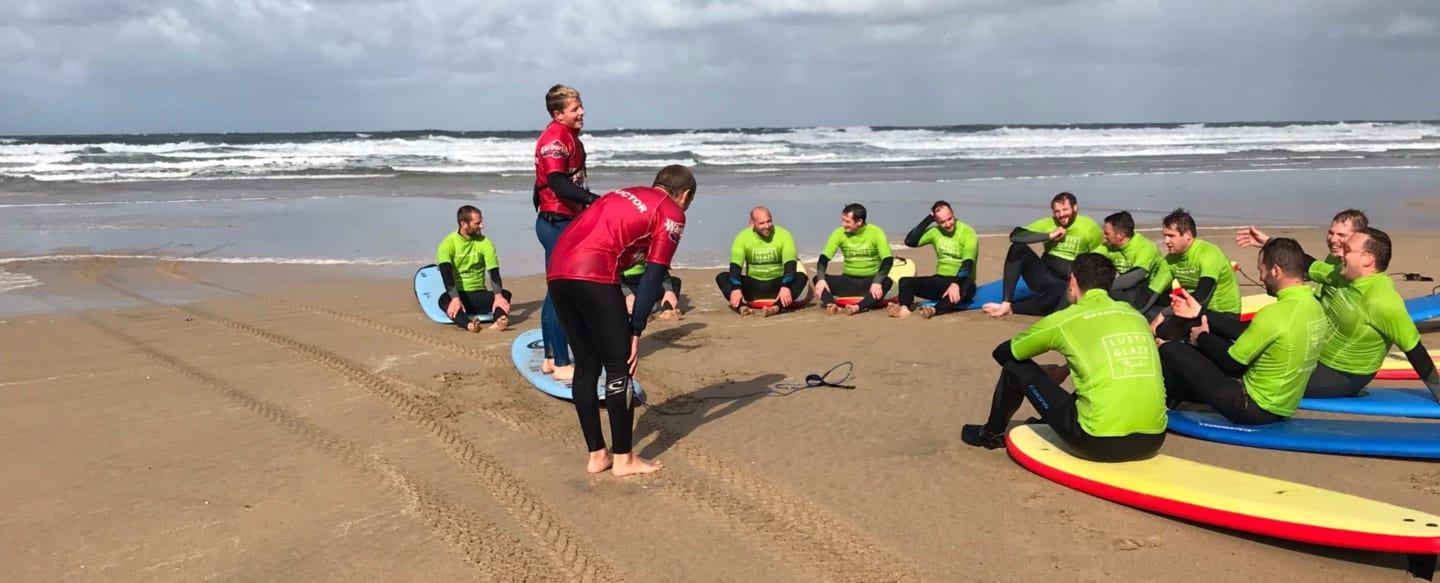 Military Surf Lesson at Lusty Glaze Beach in Newquay.