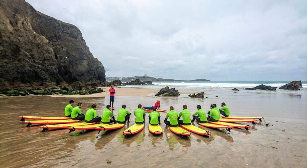 Military Group Surf Lesson at Lusty Glaze Beach in Newquay & St Austell in Cornwall